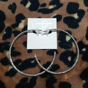 Jessica simpson silver diamond hoop earrings